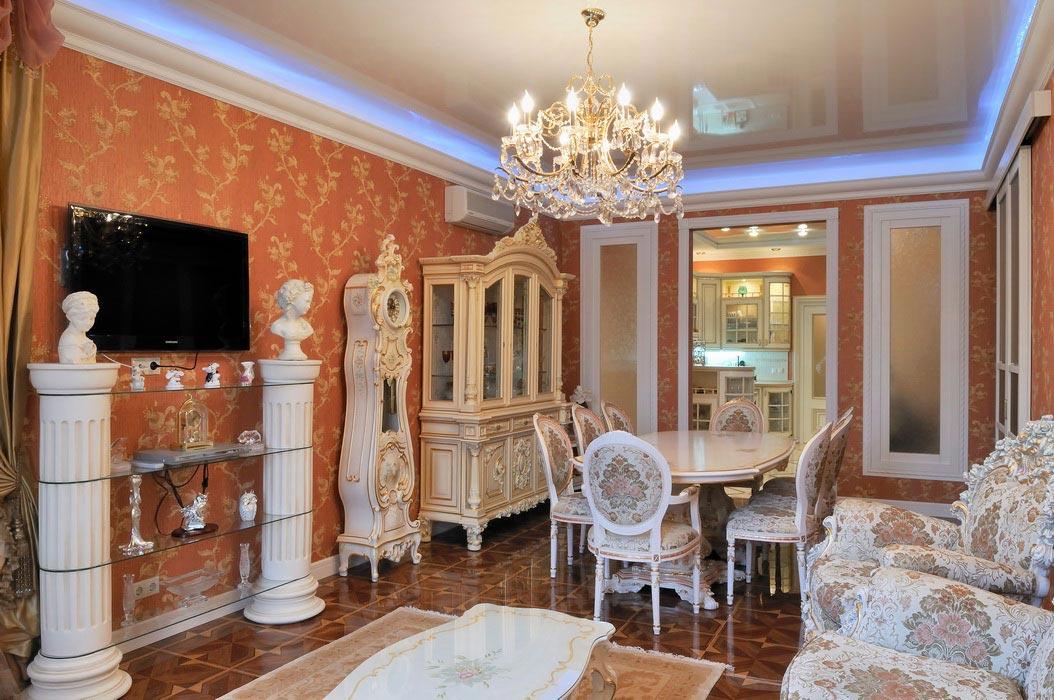 дизайн интерьера гостиной совмещеной