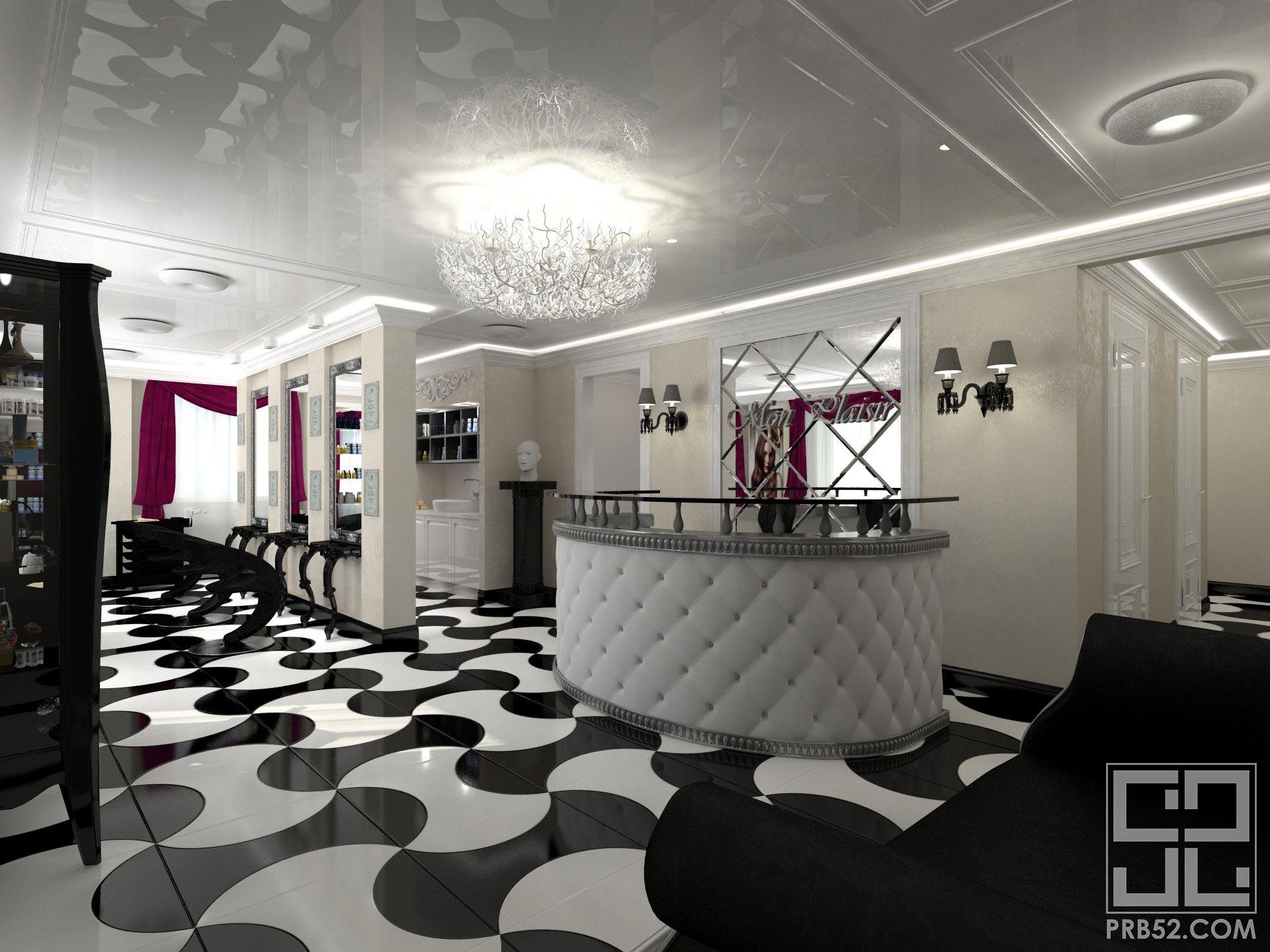 дизайн интерьера салона красоты входная зона рецепции