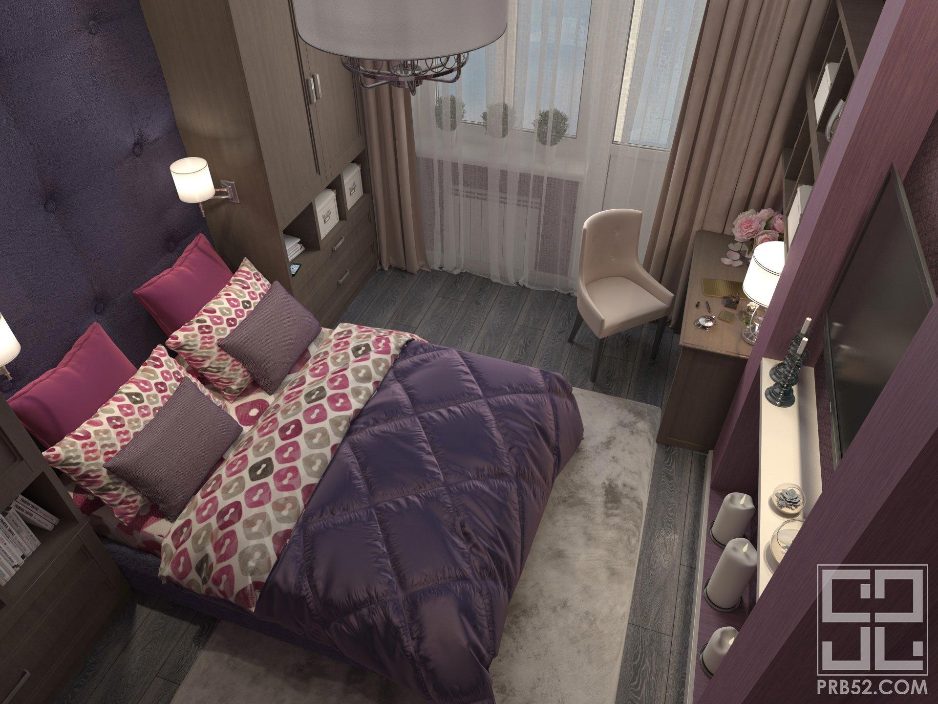 дизайн интерьера брусничной спальни