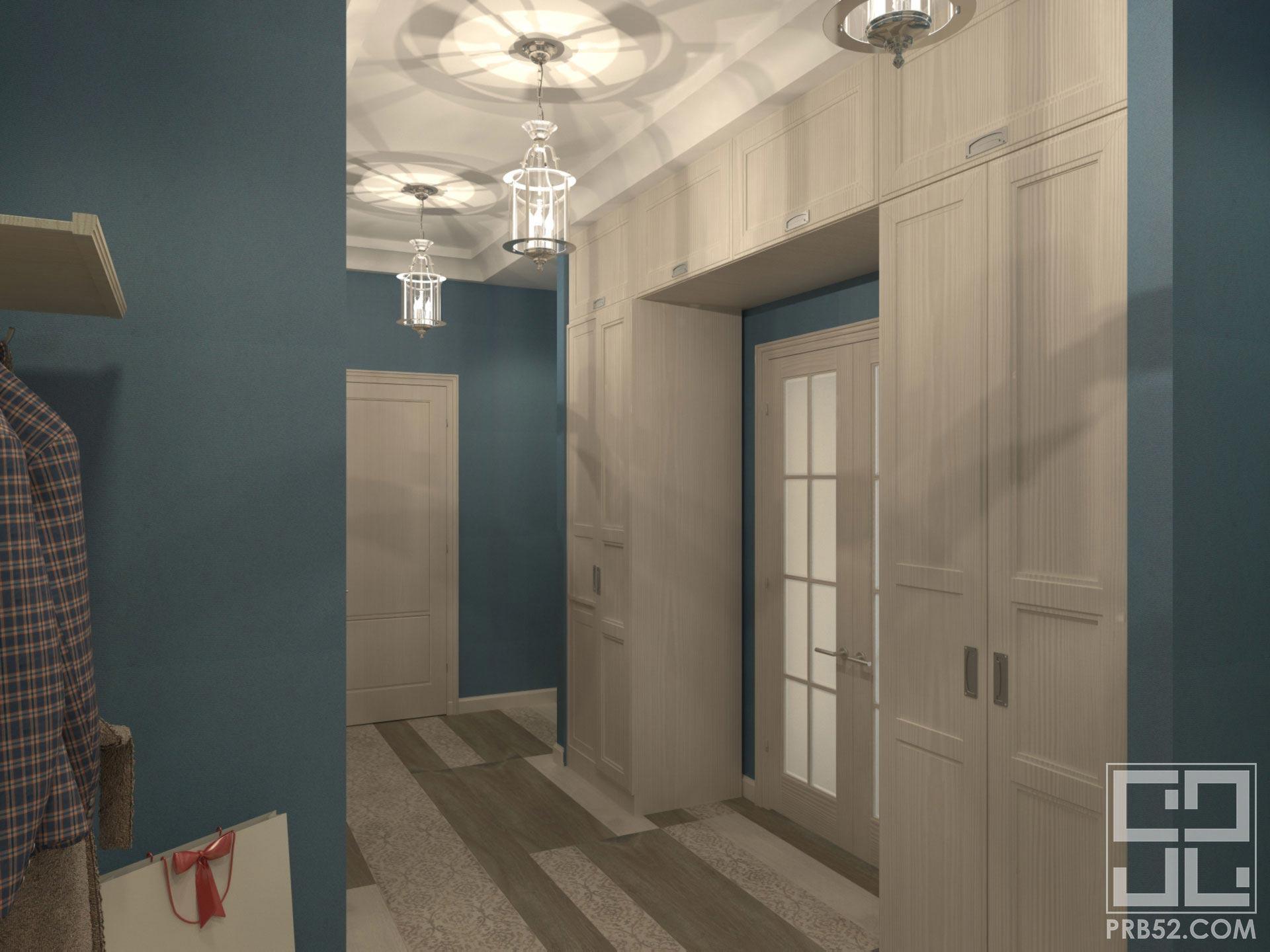 дизайн интерьера коридора длинного