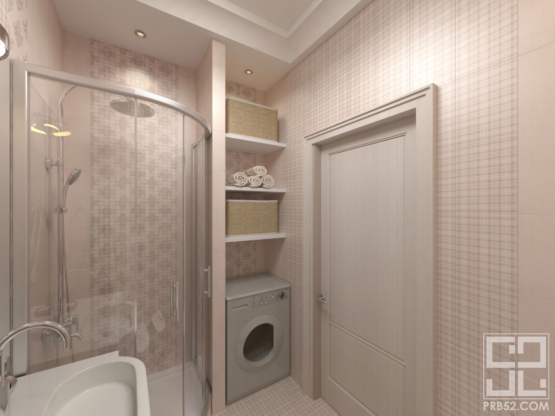 дизайн интерьера ванной с душевой