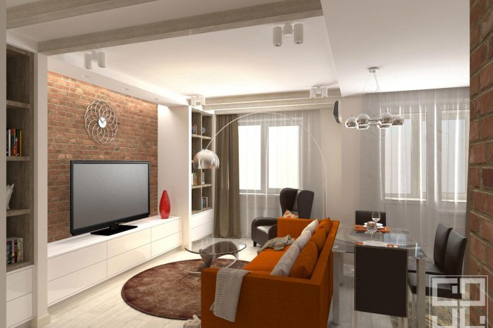 дизайн интерьера гостиной с ярким диваном