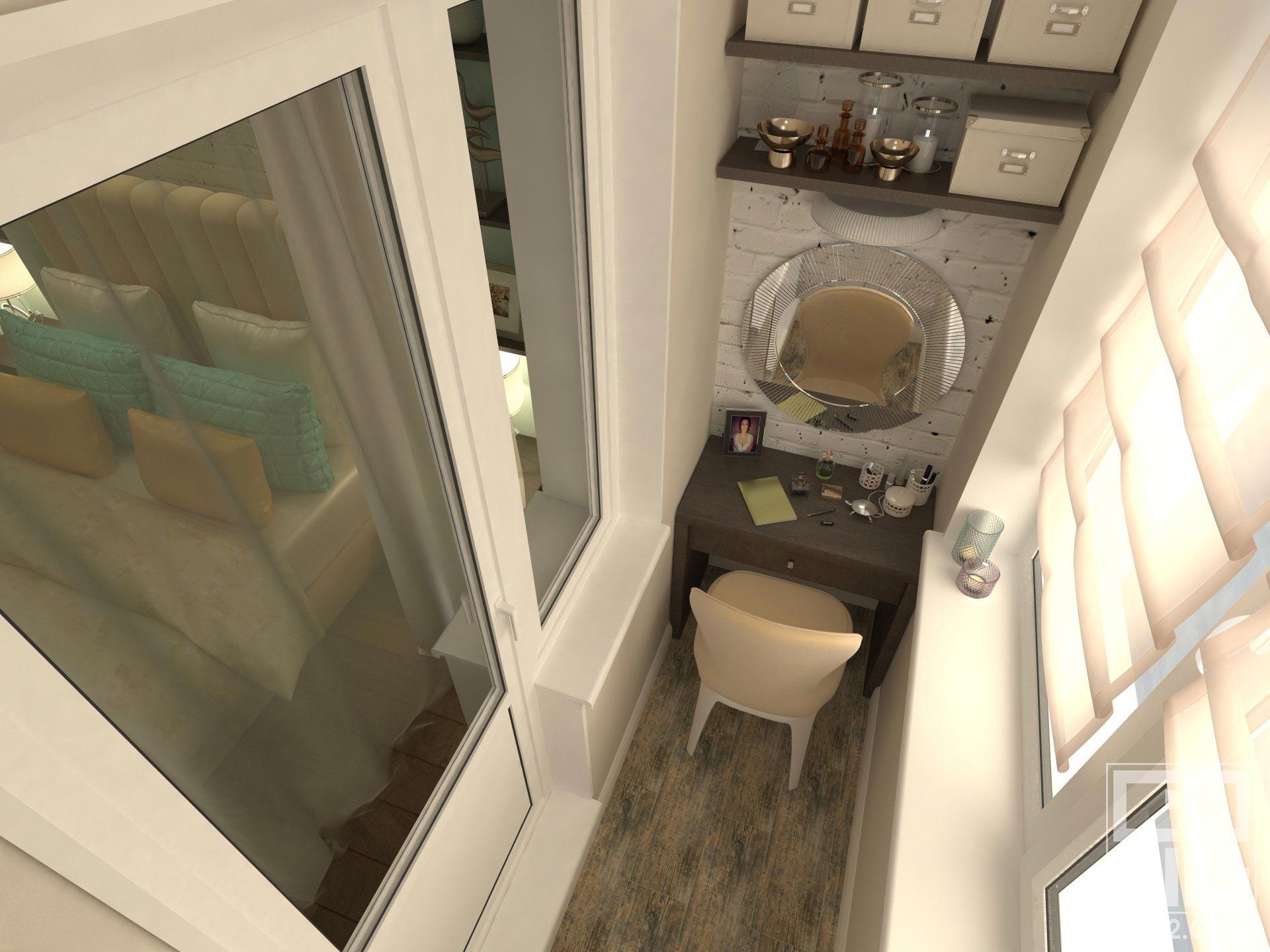 дизайн интерьера лоджии с женским местом