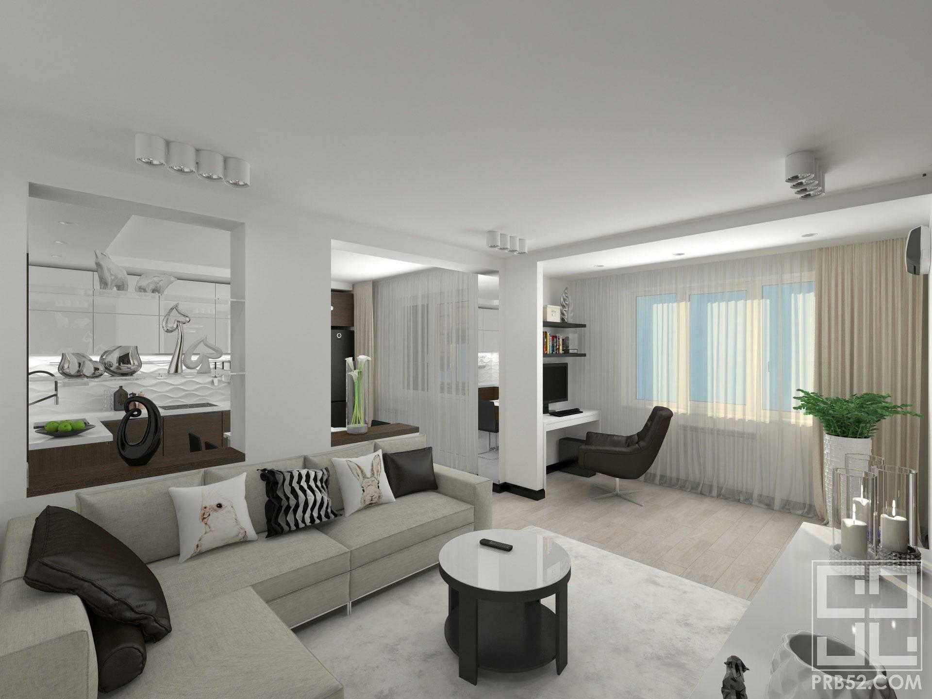 дизайн интерьера гостиная совмещенная с кухней