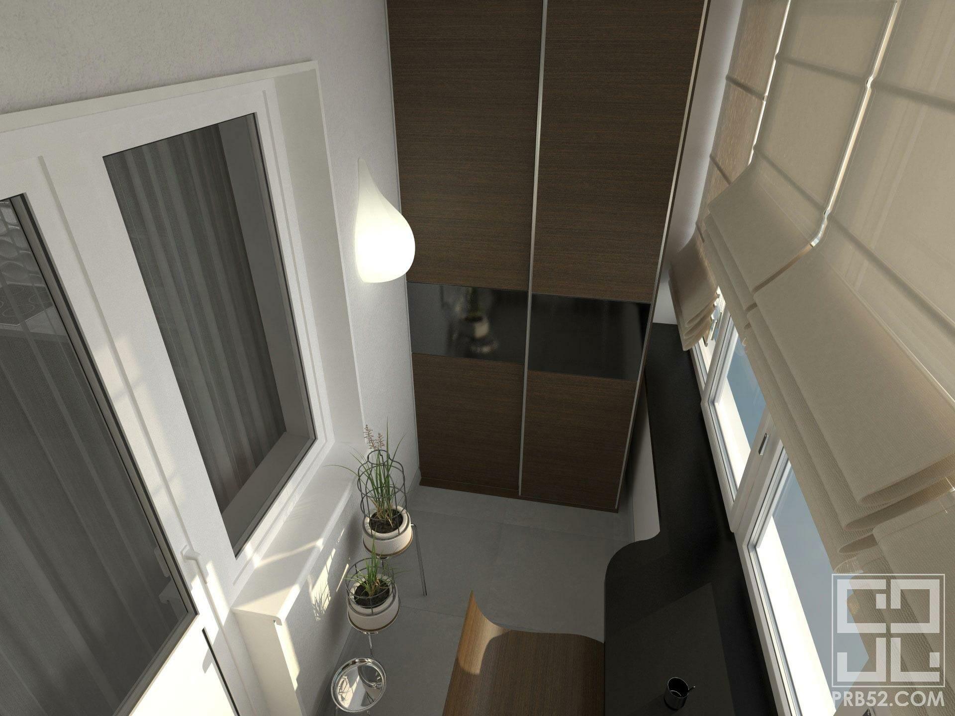 дизайн интерьера лоджии с местами хранения
