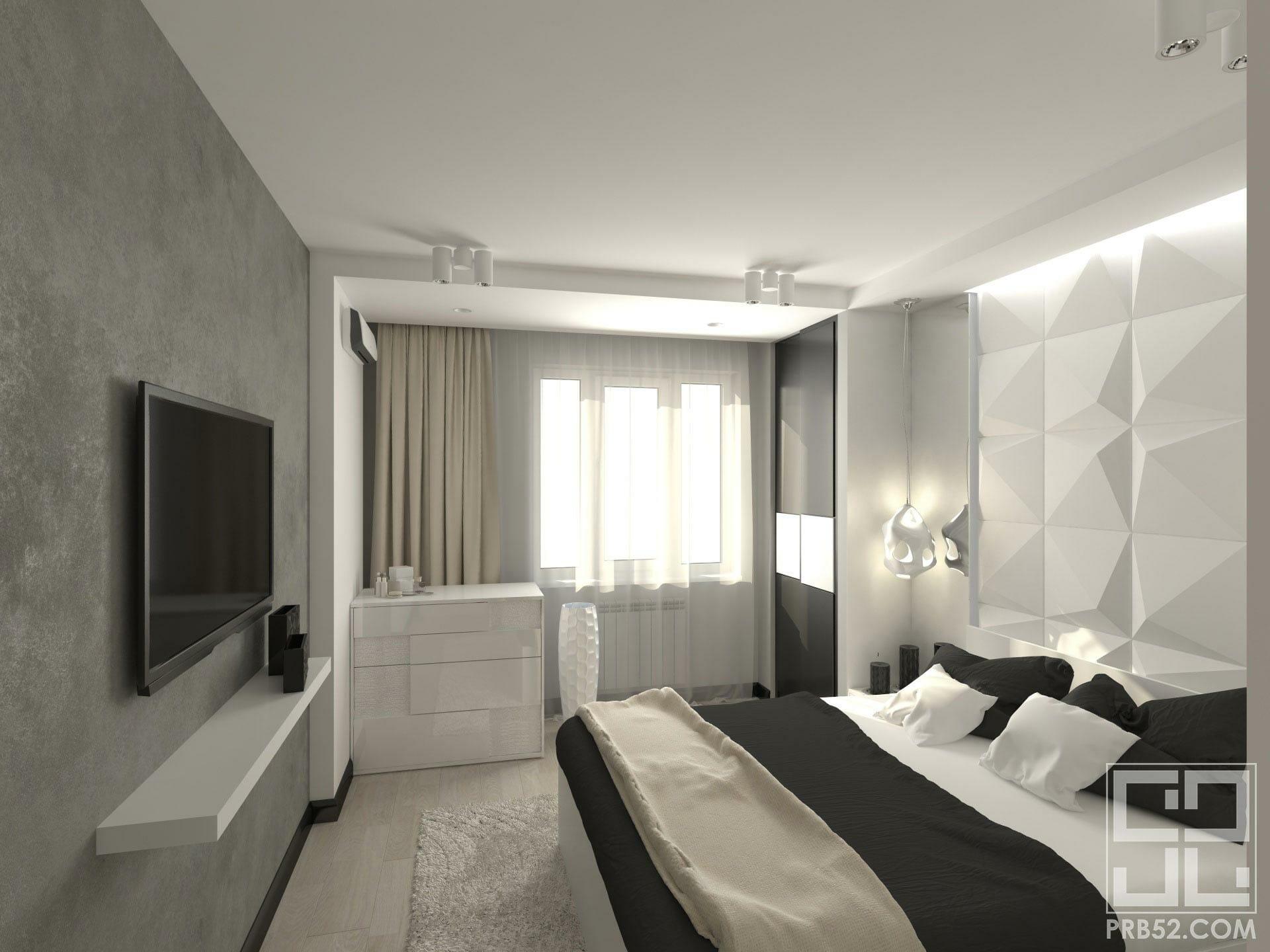 дизайн интерьера спальни с панелями