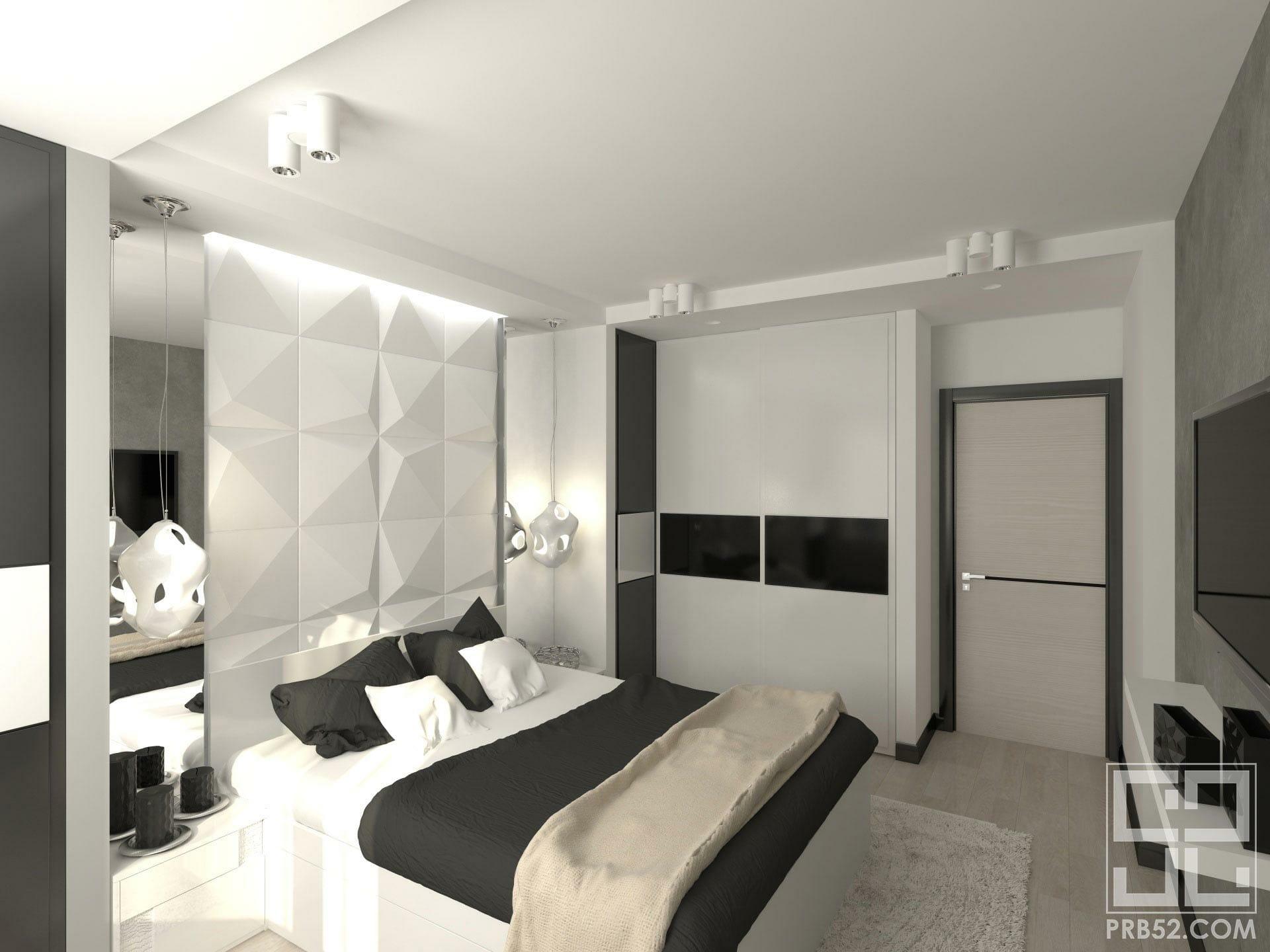 дизайн интерьера спальни с изголовьем