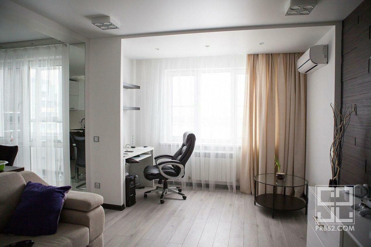 дизайн интерьера гостиной с рабочей зоной фото