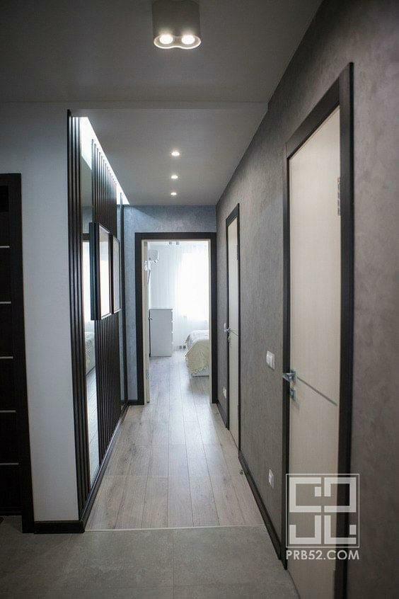 дизайн интерьера длинного узкого коридора фото