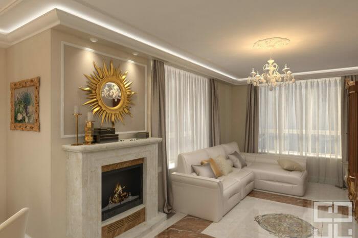 дизайн интерьера гостиной с камином в квартире