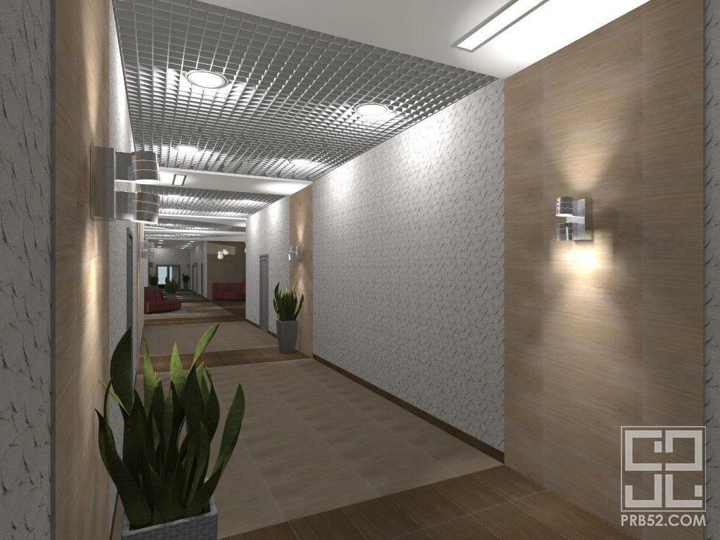дизайн интерьера офиса длинный коридор