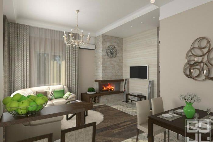 дизайн интерьера гостиной с камином в частном доме