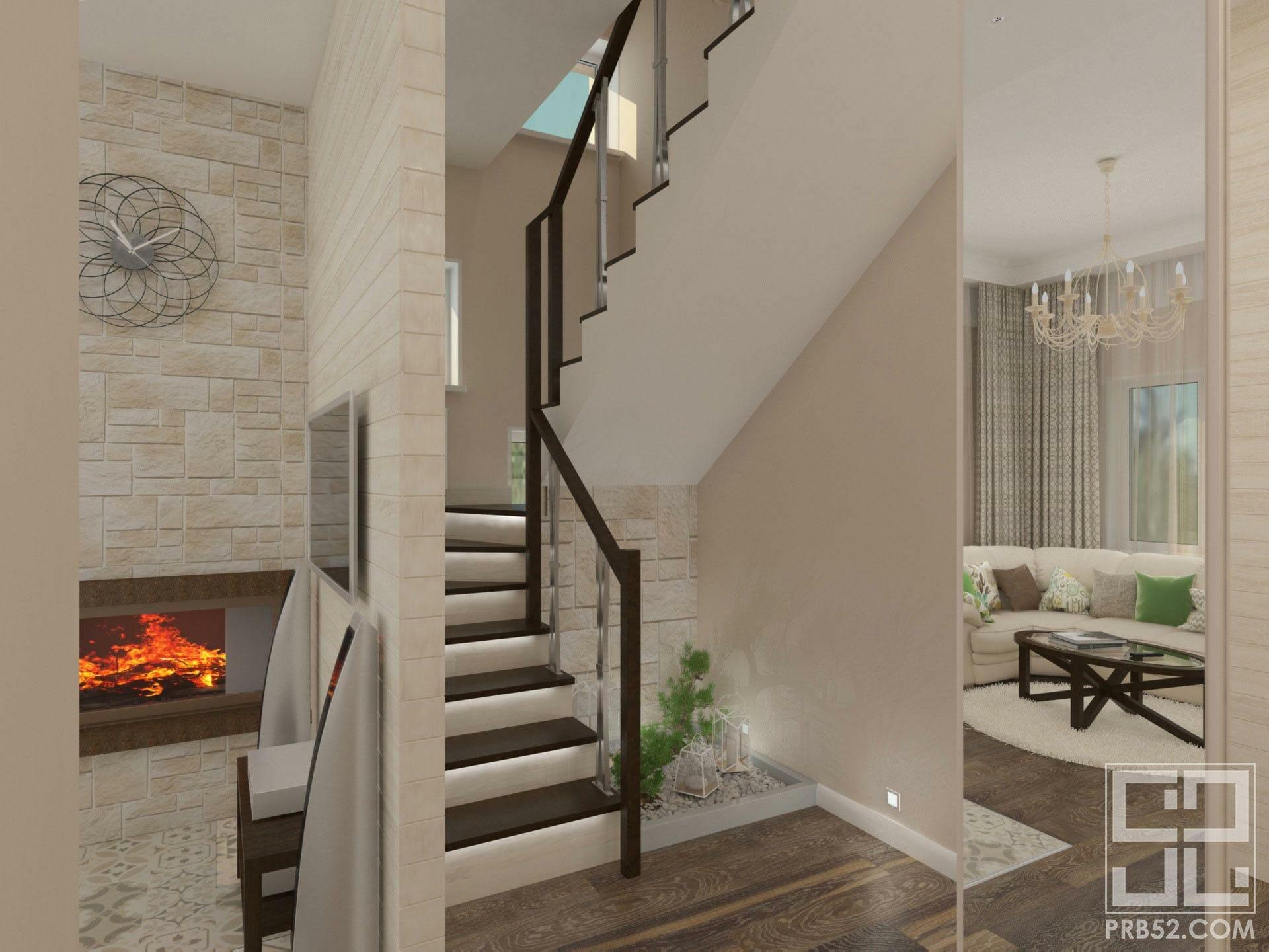 дизайн интерьера коридора с лестницей в частном доме