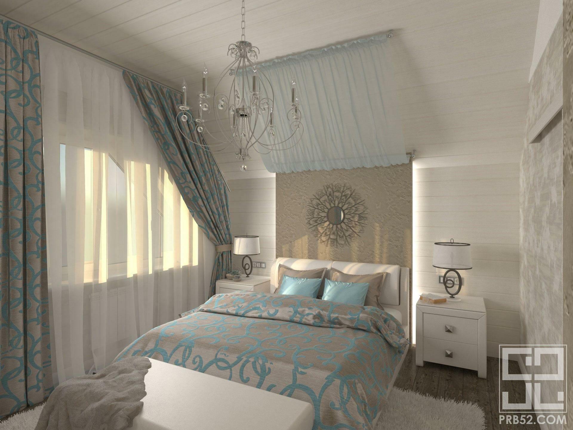 дизайн интерьера спальня с балдахином