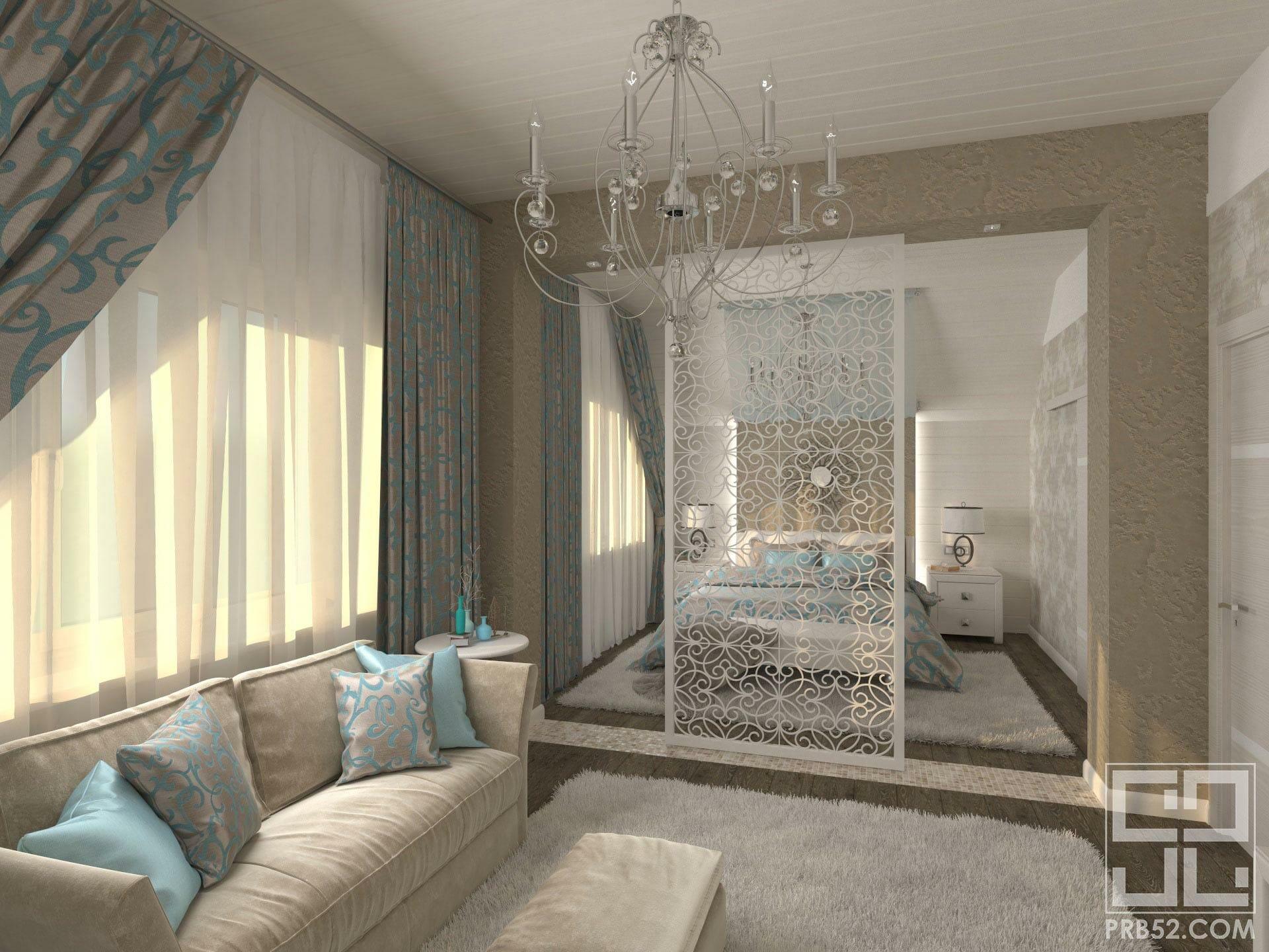 дизайн интерьера спальня воздушная перегородка