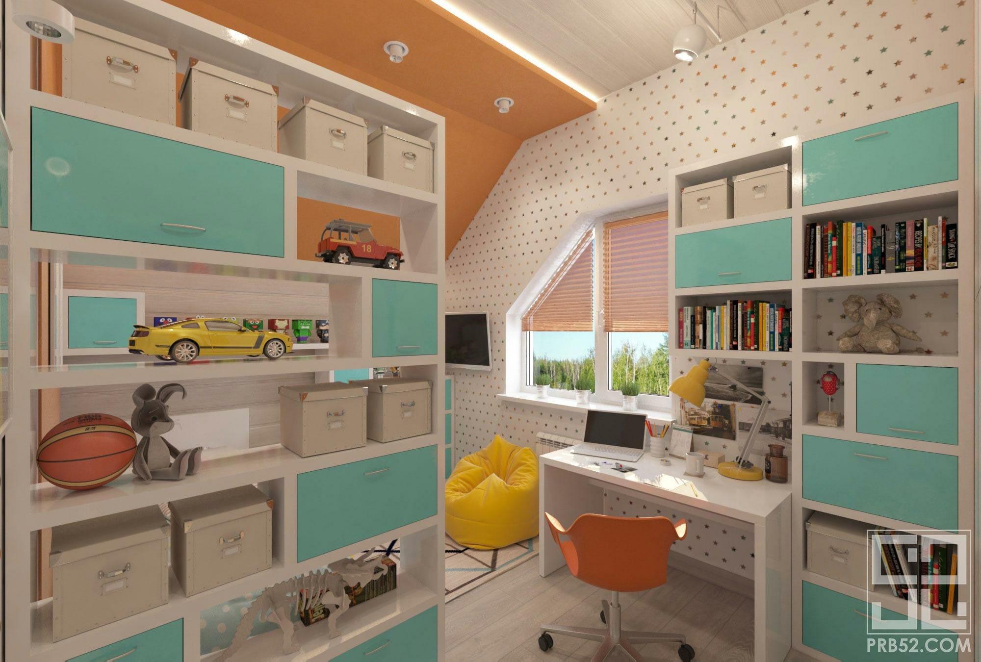 дизайн интерьера детской комнаты рабочее место