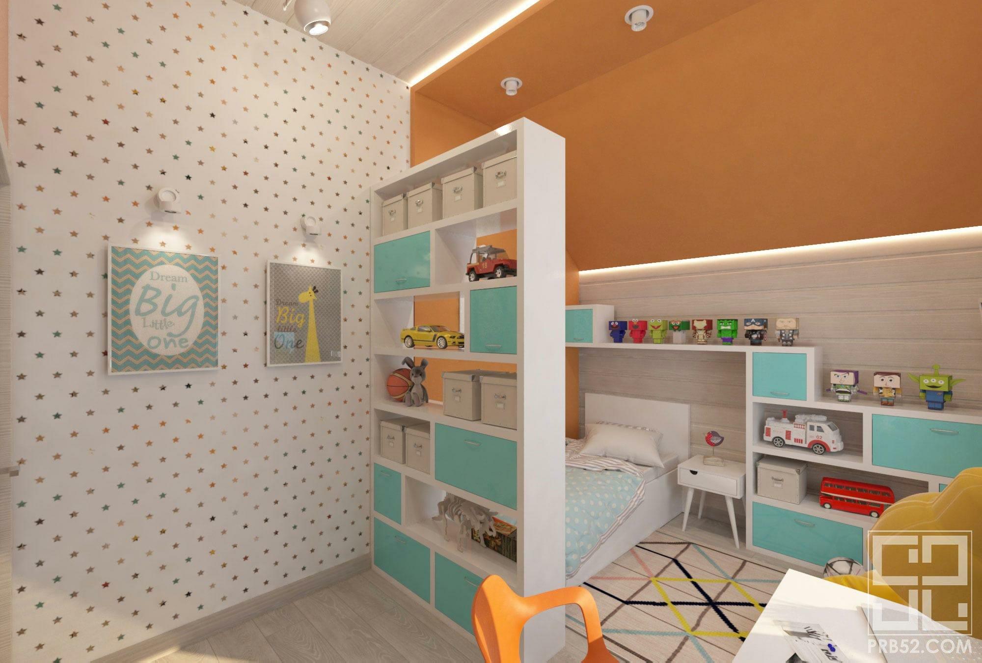 дизайн интерьера яркой детской комнаты