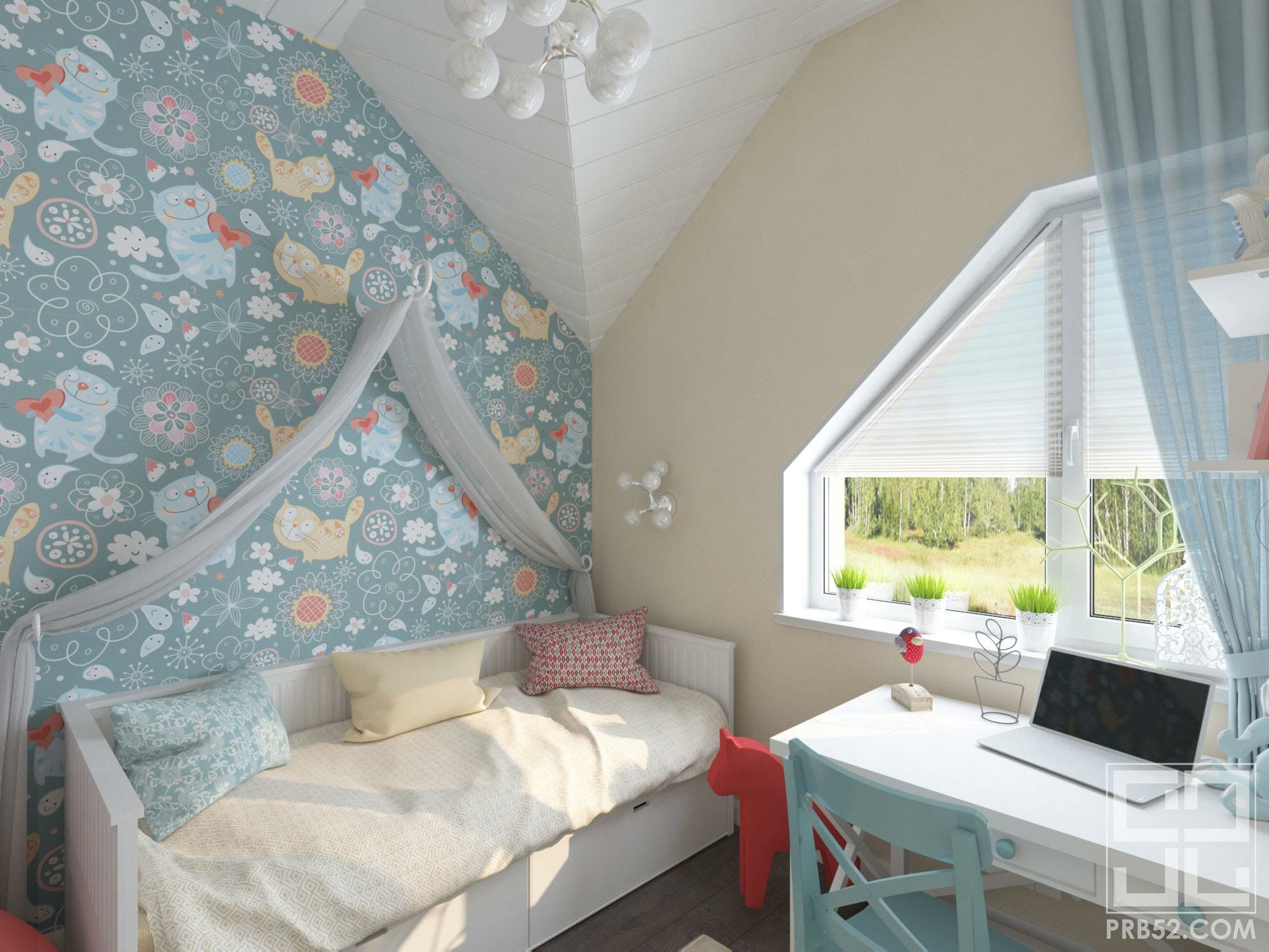 дизайн интерьера детской комнаты с балдахином