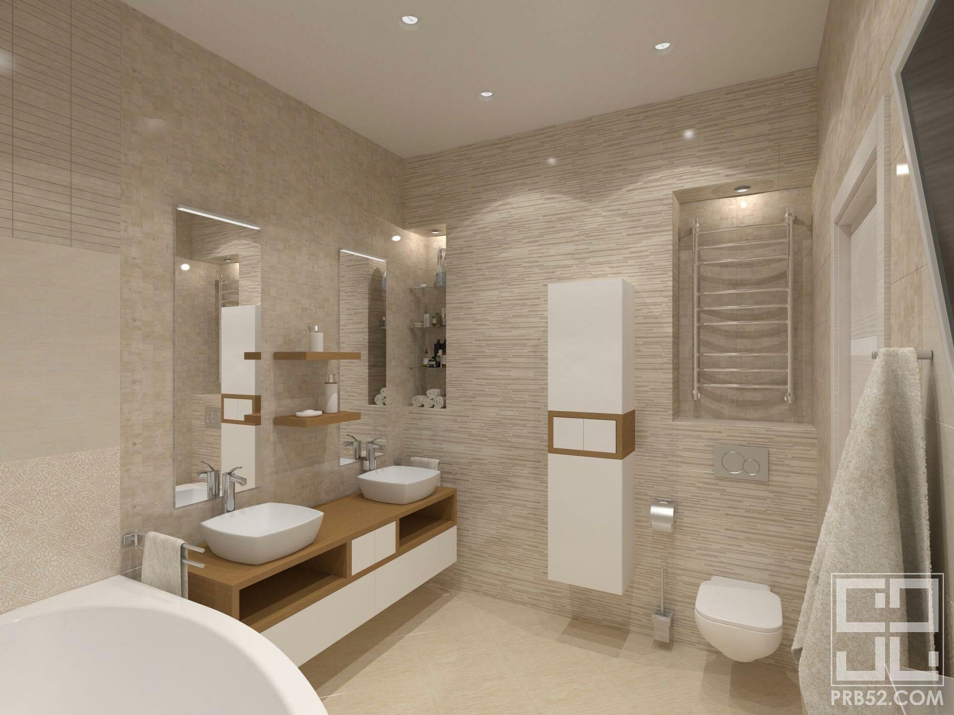 дизайн интерьера ванной в частном доме с двумя мойками