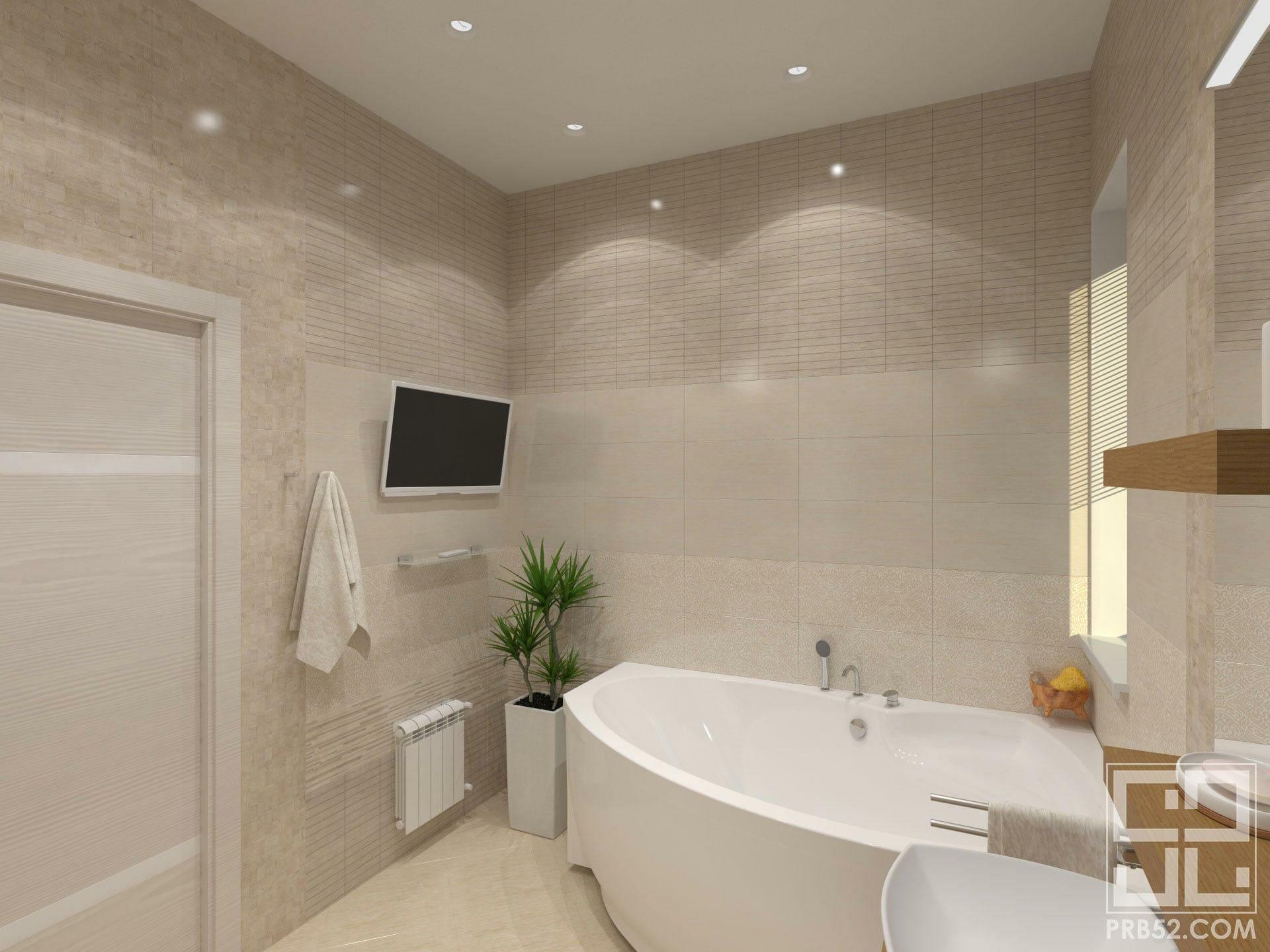 дизайн интерьера с угловой ванной в частном доме