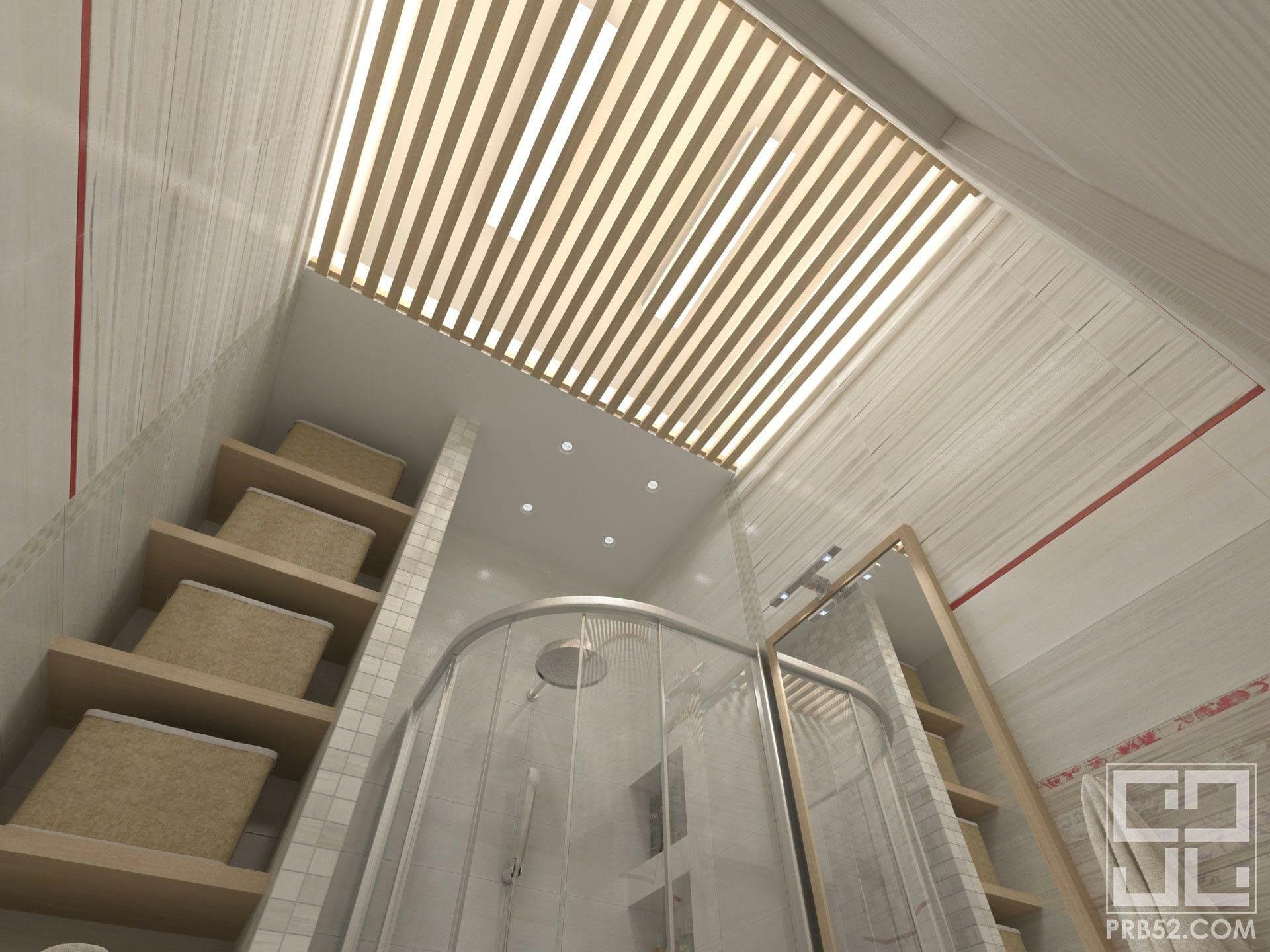 дизайн интерьера ванной с реечным потолком