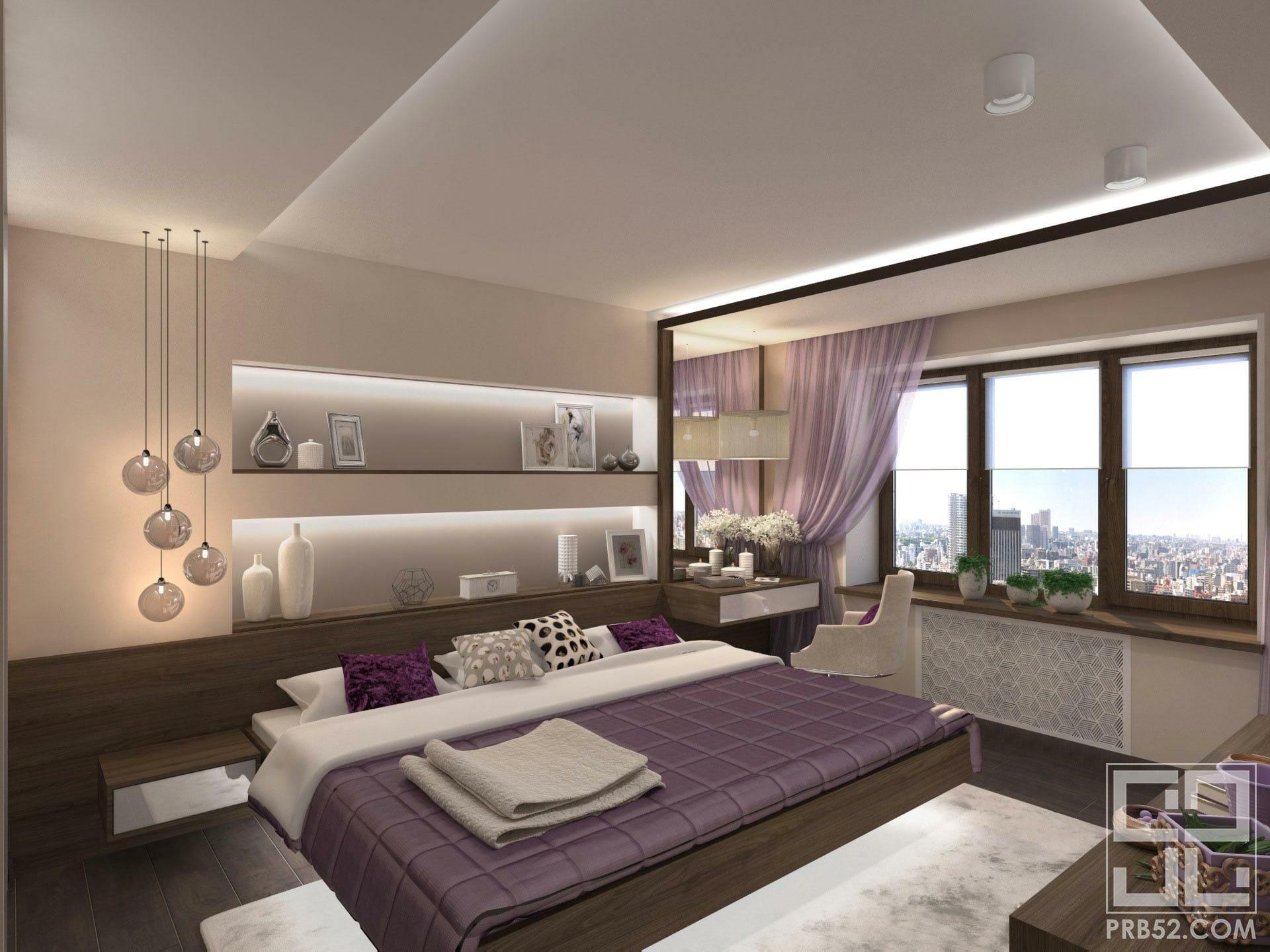 дизайн интерьера спальни с парящей кроватью