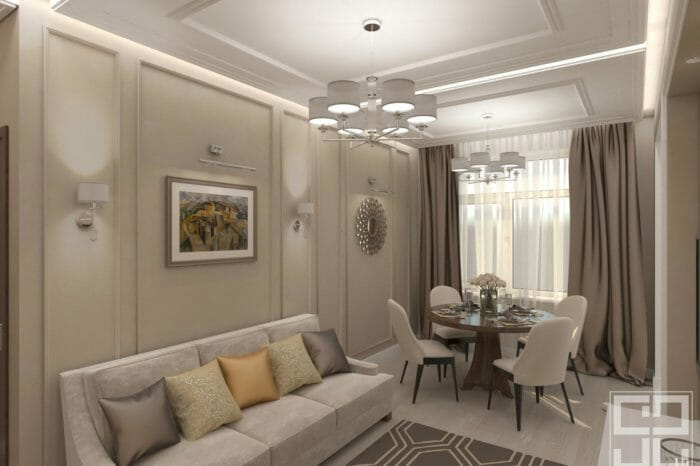 дизайн интерьера гостиной столовой