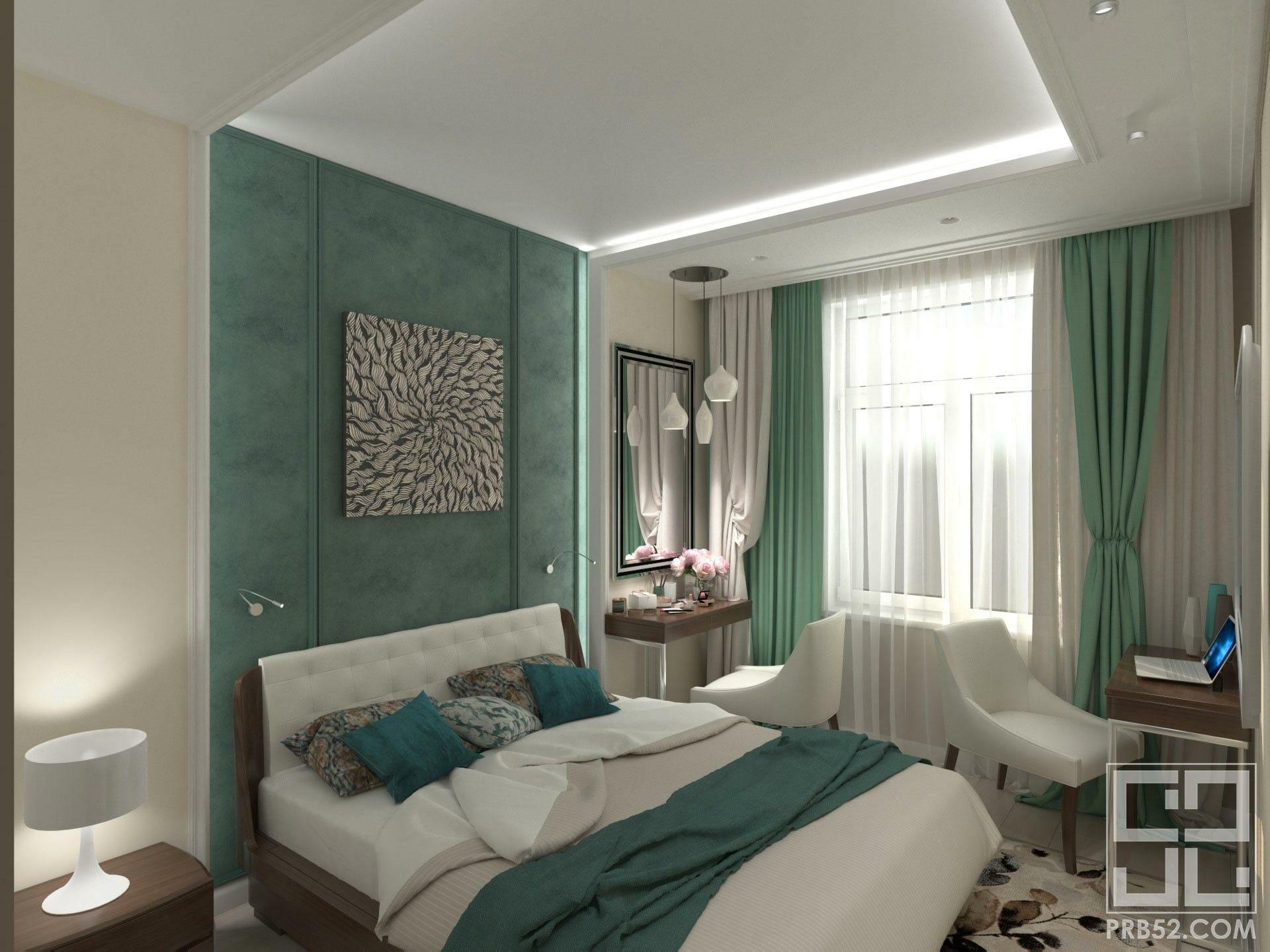 дизайн интерьера спальни с подсветкой