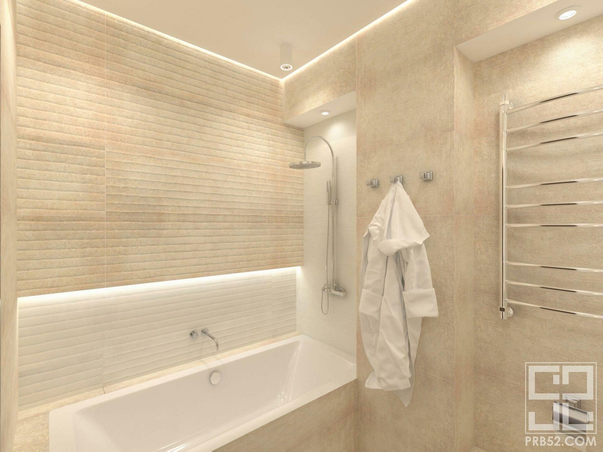 дизайн интерьера современной ванной комнаты с подсветкой