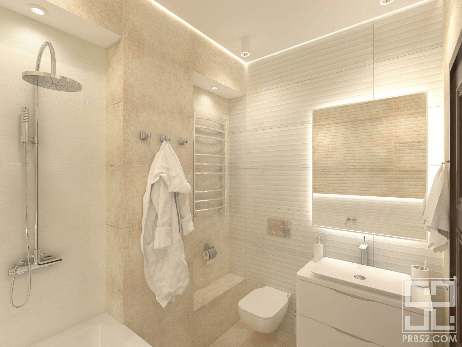 дизайн интерьера ванной комнаты с подсветкой зеркала и парящим потолком