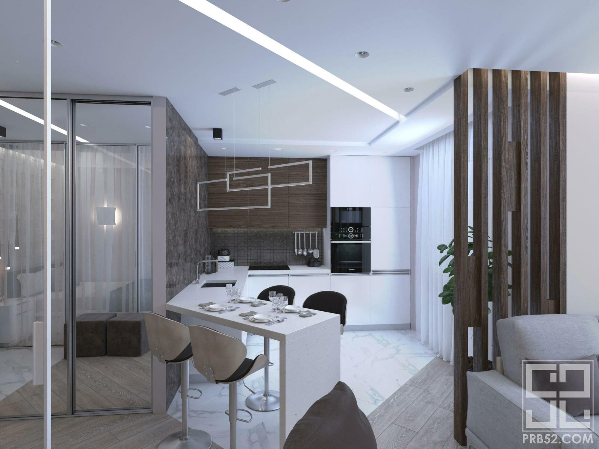дизайн интерьера современной кухни в студии с барной стойкой