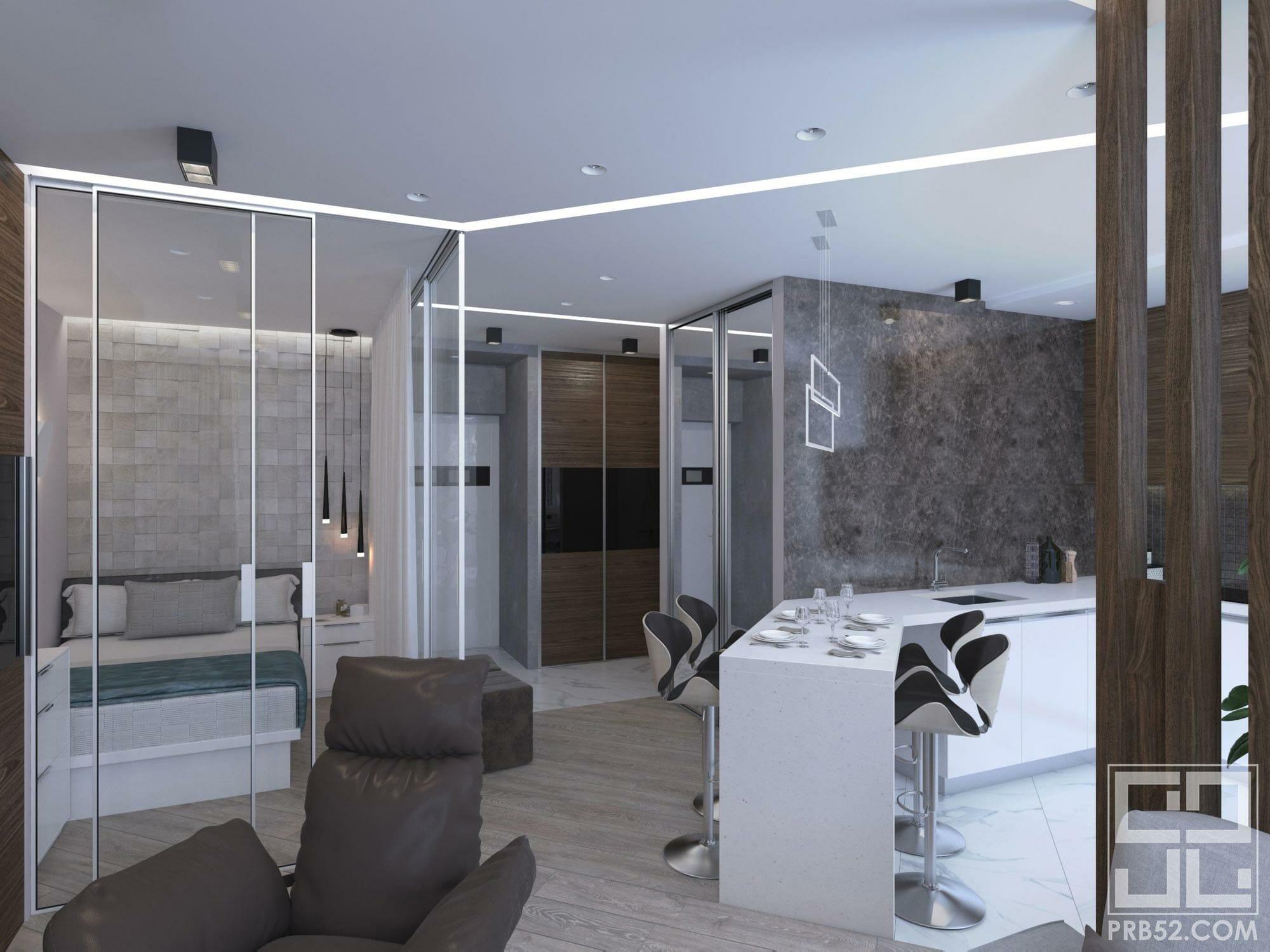дизайн интерьера спальни в студии