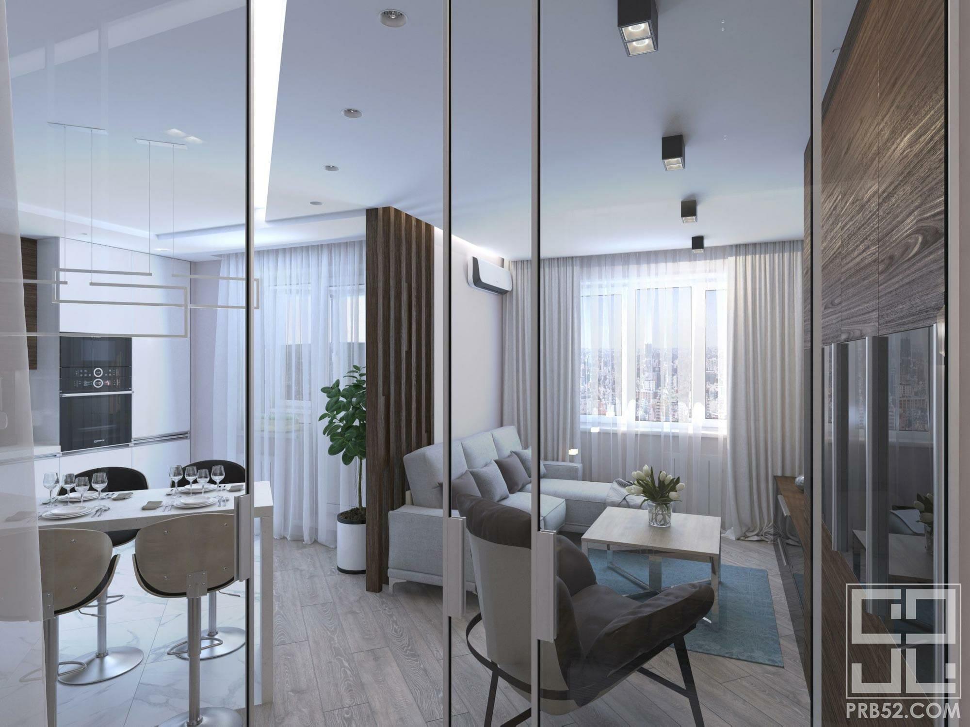 дизайн интерьера гостиной в студии