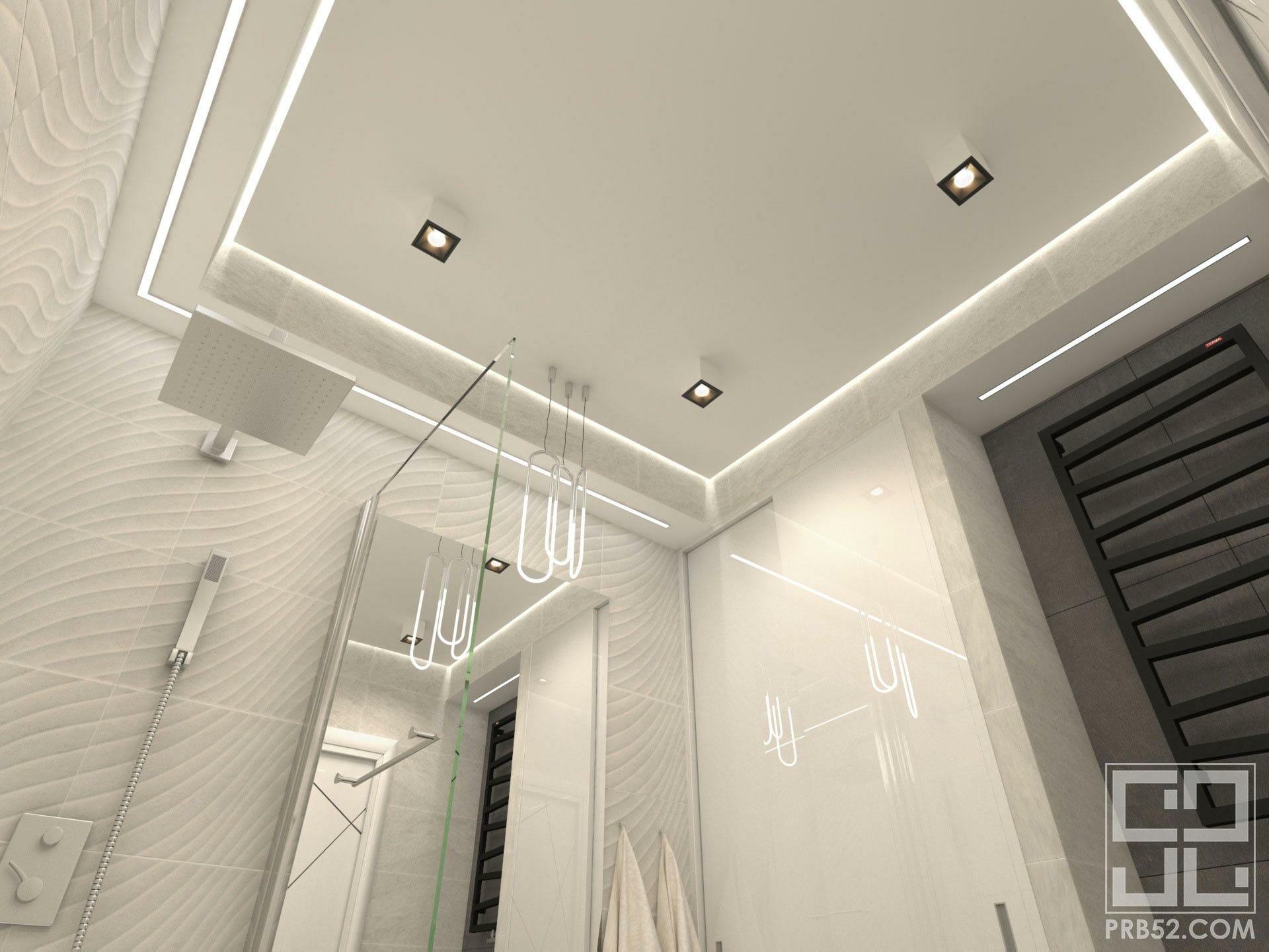 дизайн интерьера ванной комнаты парящий потолок