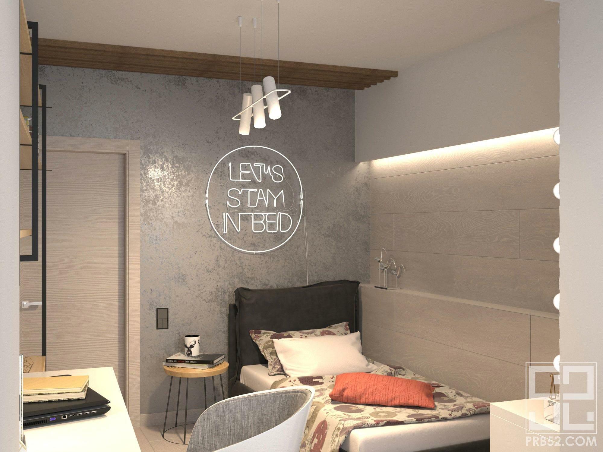 дизайн интерьера детской комнаты подростка в стиле лофт
