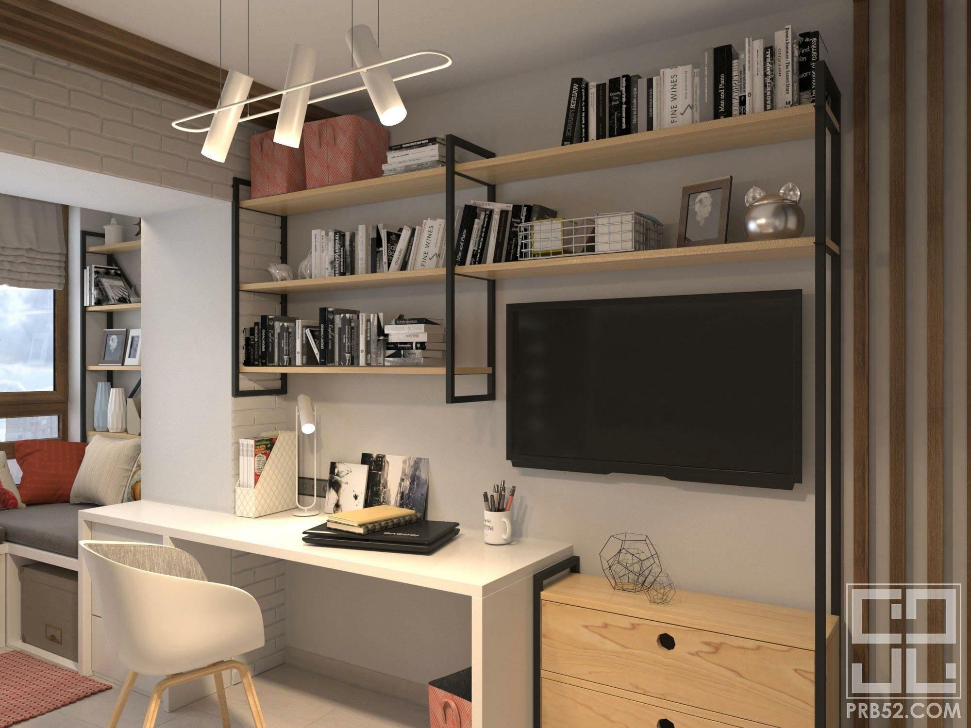 дизайн интерьера детской комнаты подростка рабочее место