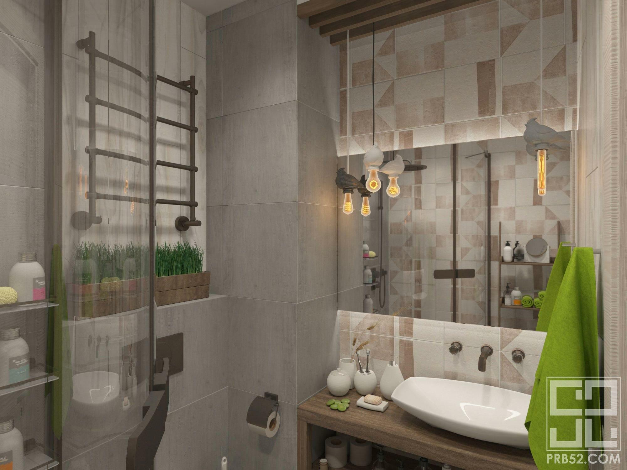 дизайн интерьера ванной комнаты в стиле лофт