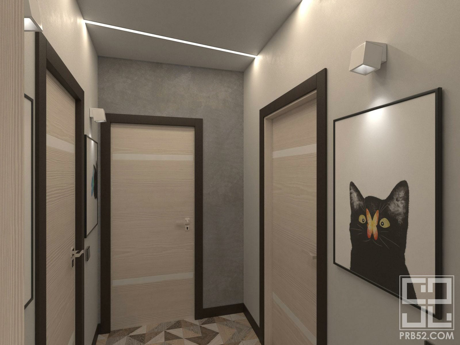 дизайн интерьера маленького коридора