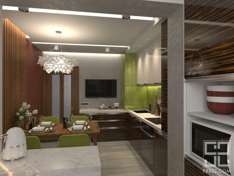 дизайн интерьера яркой современной кухни столовой