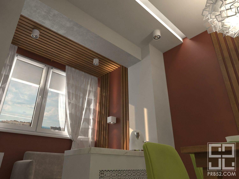 лоджия дизайн интерьера объединение с кухней