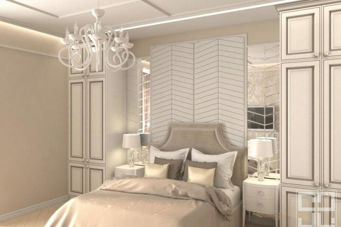 дизайн интерьера спальни в классическом стиле с большим изголовьем