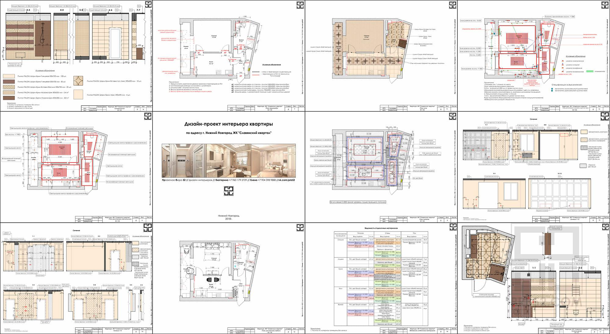 дизайн проект интерьера рабочие чертежи пример