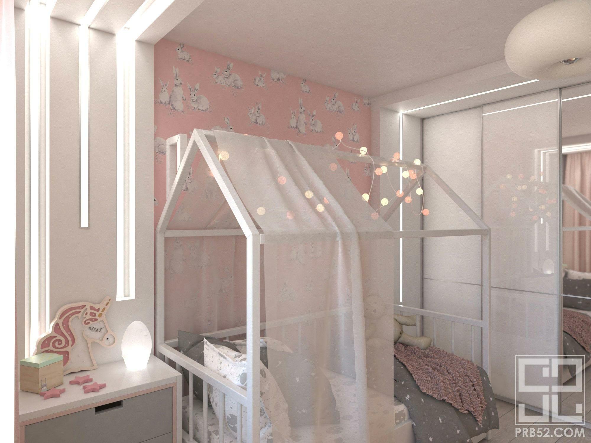 дизайн интерьера детской комнаты для девочки с балдахином