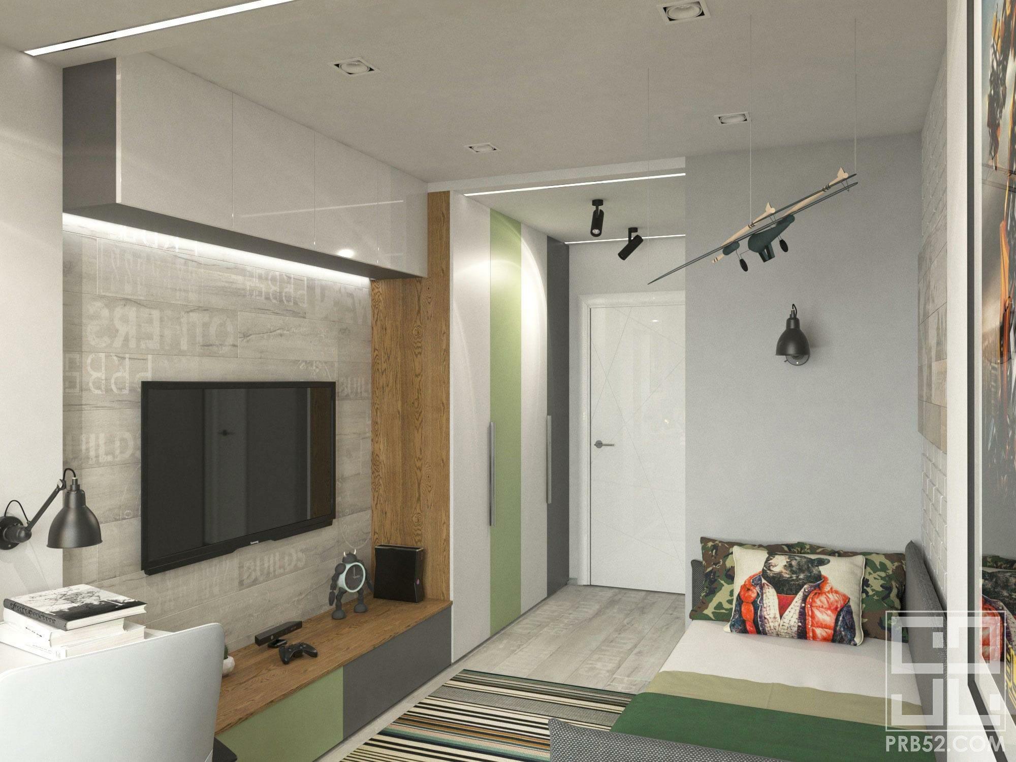 дизайн интерьера детской комнаты для мальчика с местами хранения