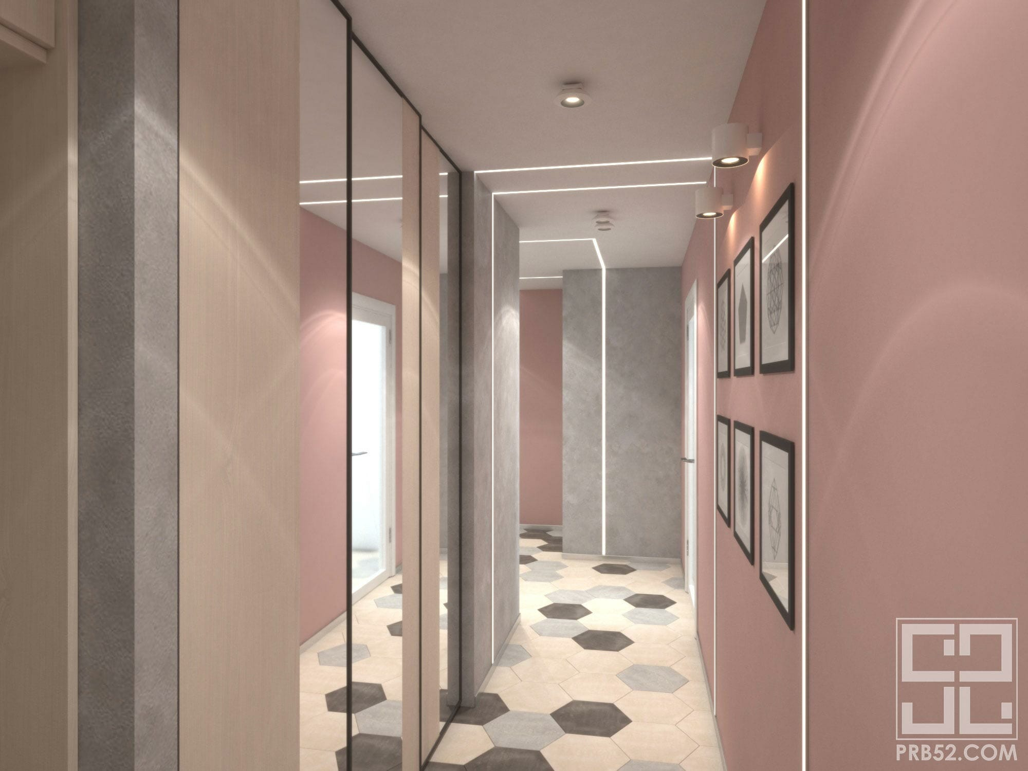 дизайн интерьера узкого длинного коридора идеи