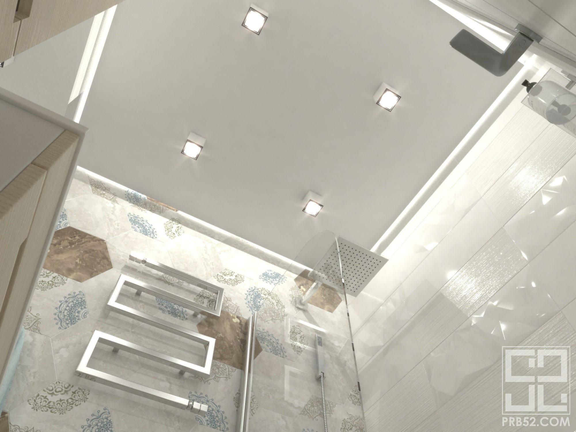 Дизайн интерьера ванной комнаты с парящим потолком
