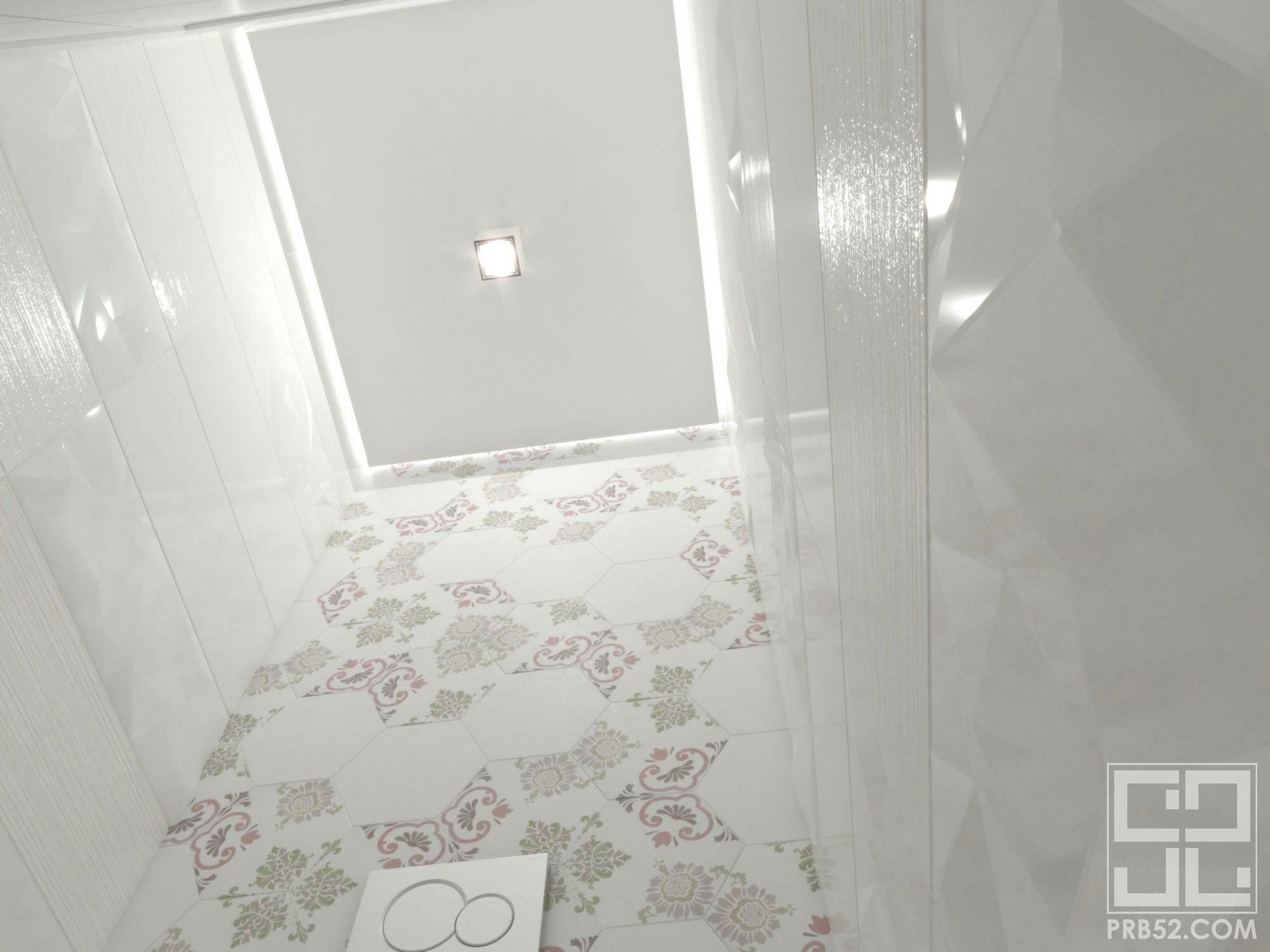 дизайн интерьера туалета с парящим потолком