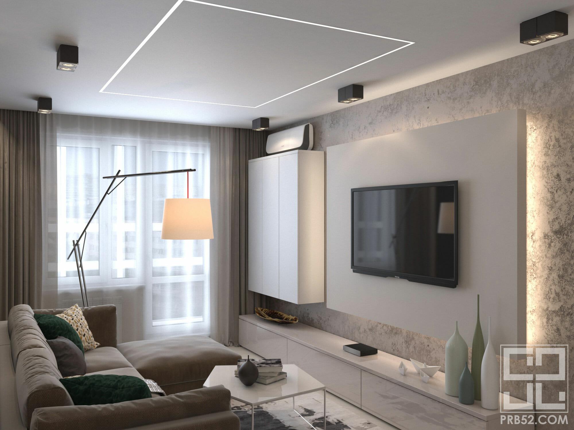 дизайн интерьера современной гостиной комнаты с подсветкой