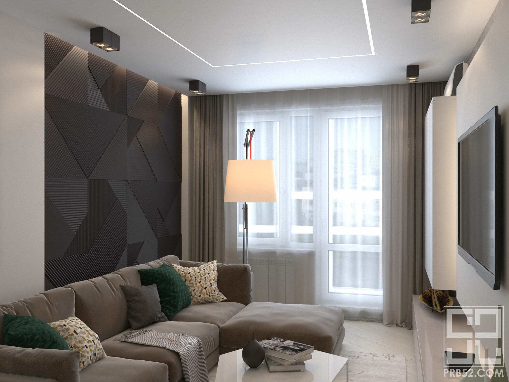 дизайн интерьера современной гостиной комнаты с панелями