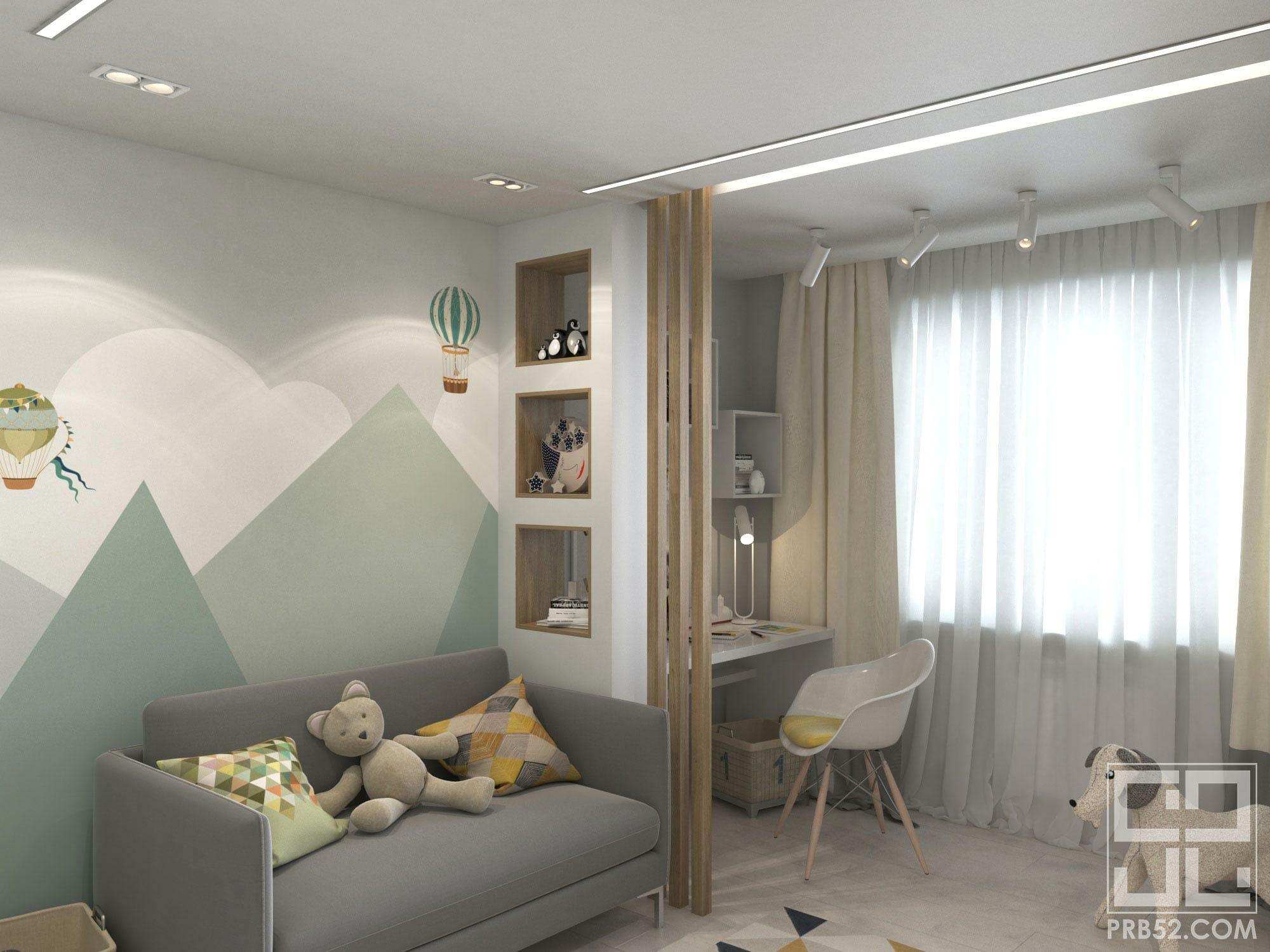 дизайн интерьера детской комнаты с горами